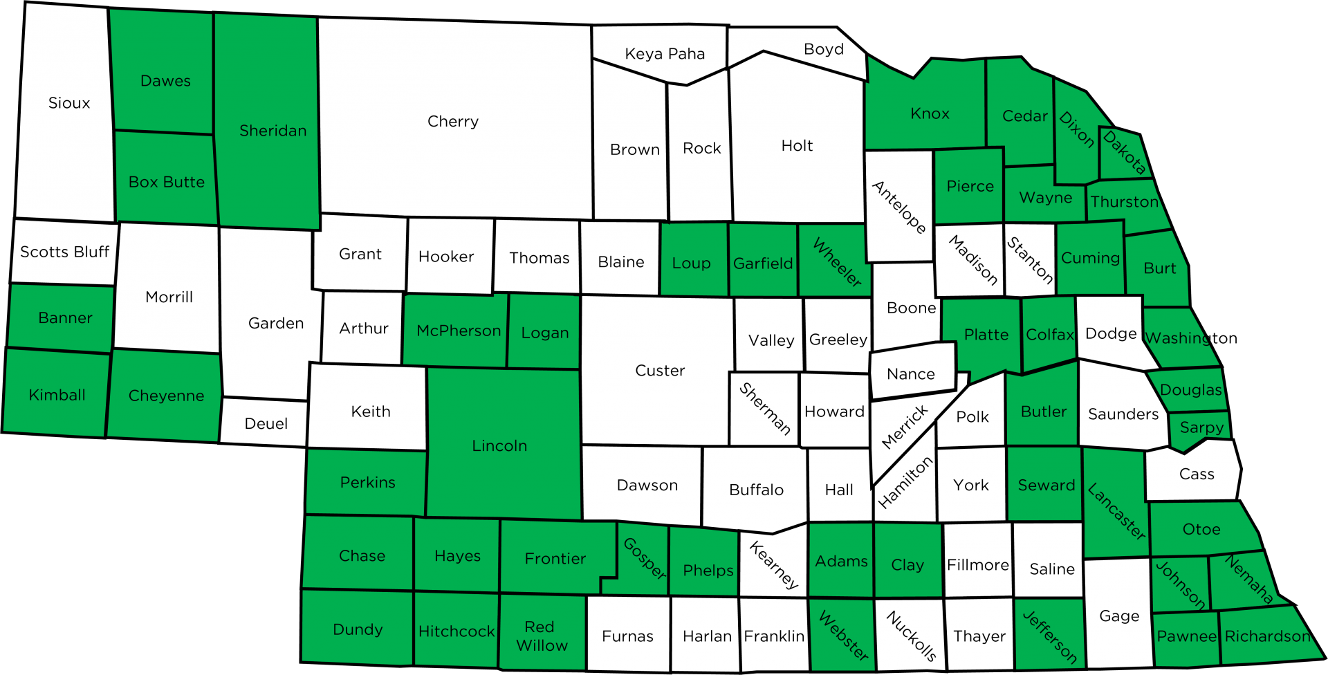Nebraska map of counties delivering next chapter programming