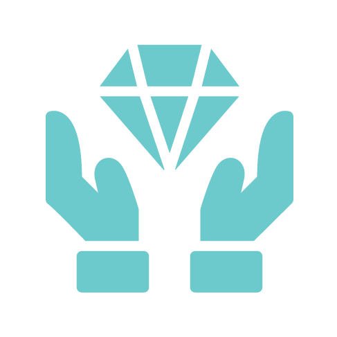 teal hands holding diamond icon