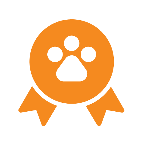 orange pet ribbon icon