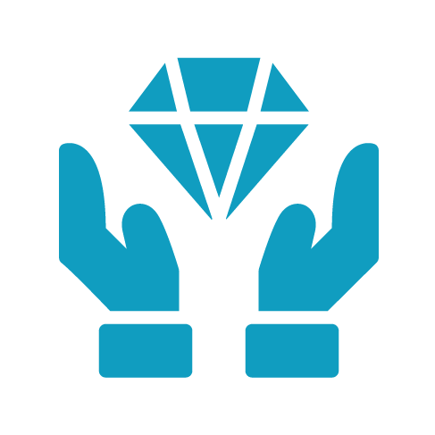 hands holding diamond icon