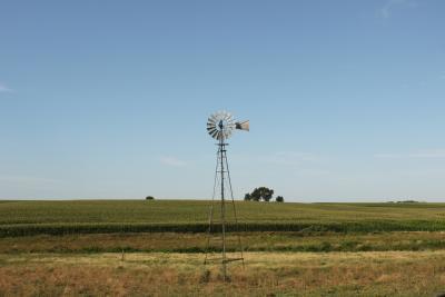 a windmill in a Nebraska prairie