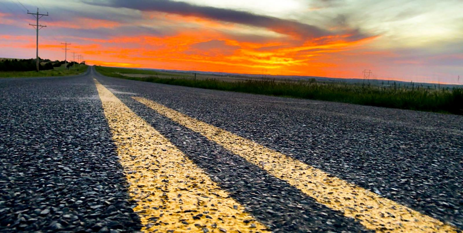 sunset on nebraska highway