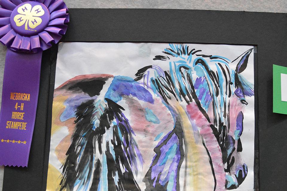 horse themed watercolor with a champion rosette