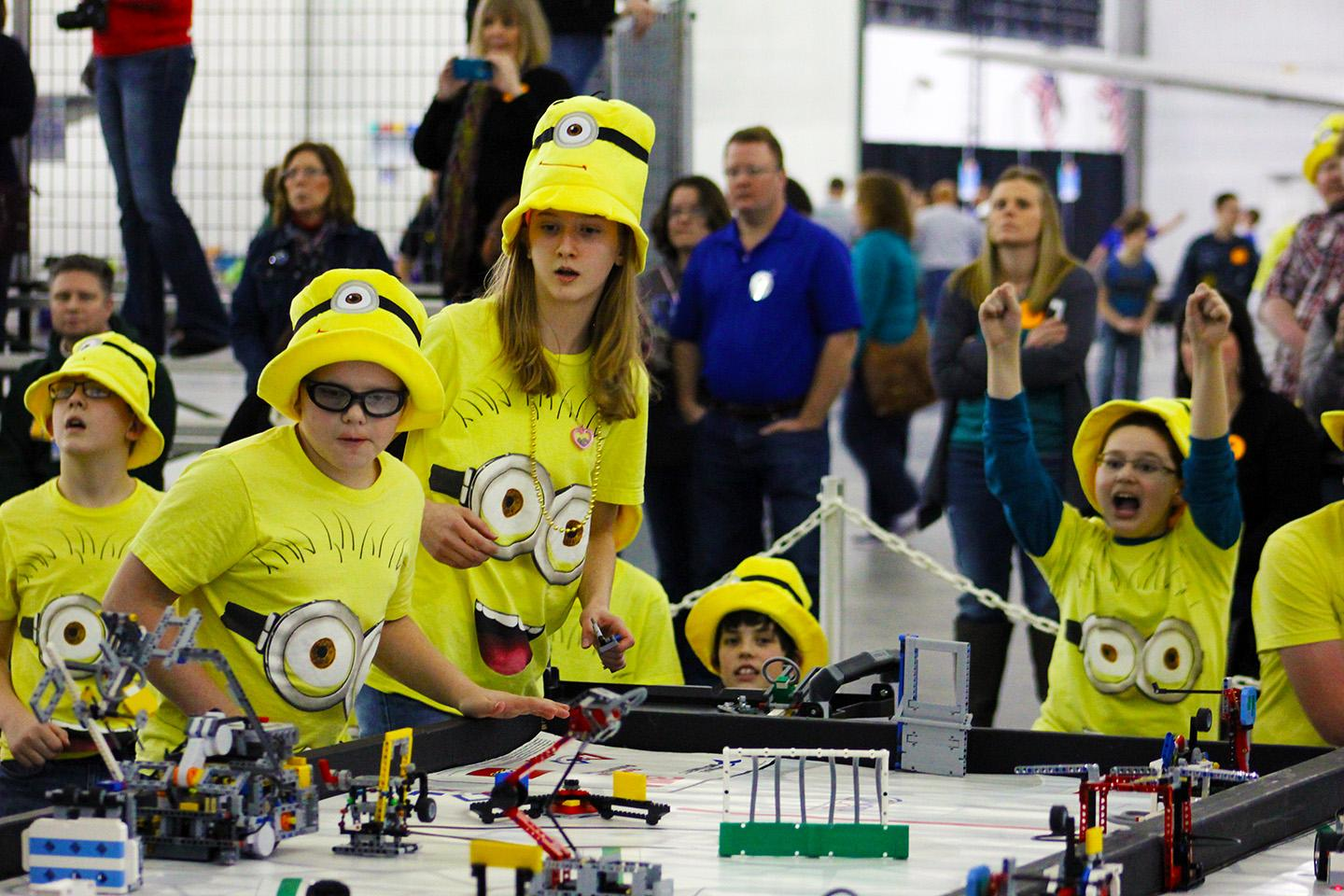 Nebraska FIRST LEGO League team playing robot games
