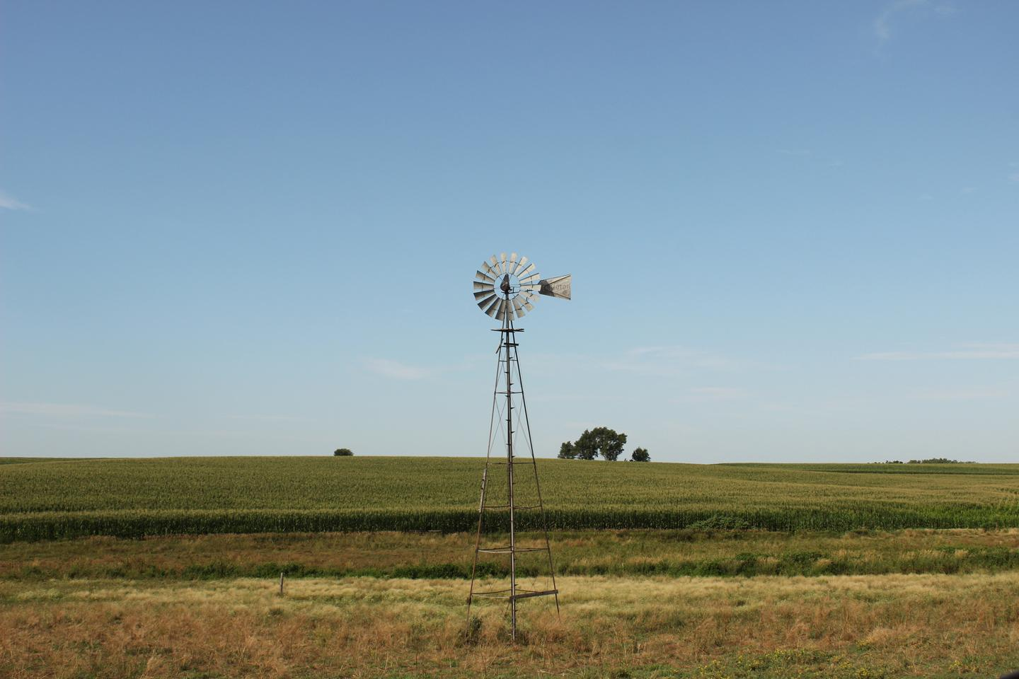 windmill in Nebraska prairie