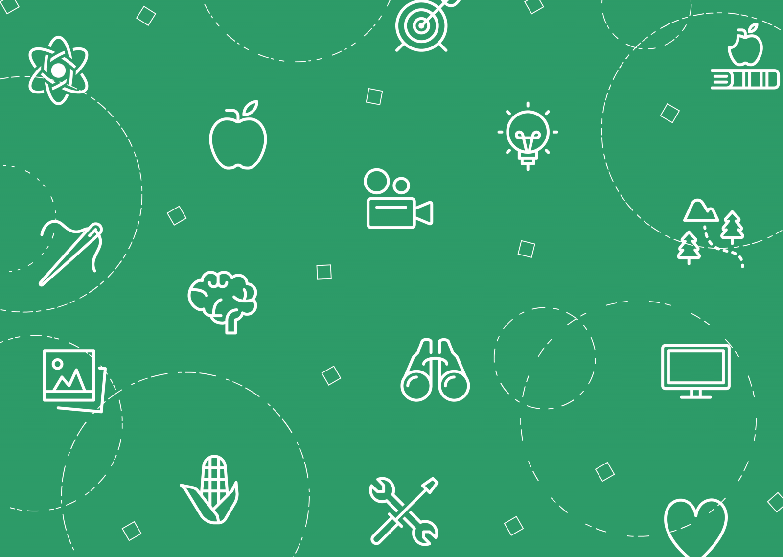 green graphic with a variety of project icons