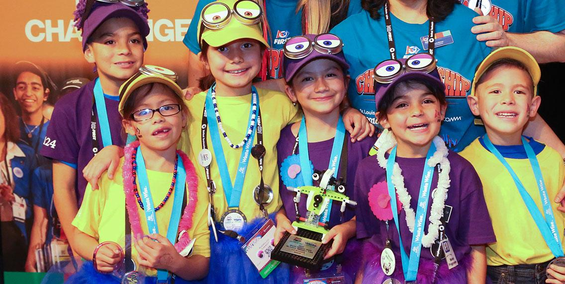 FIRST LEGO League Jr Team with trophy